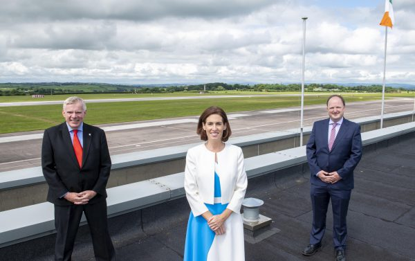 FREE PIC - NO REPRO FEE - July 12, 2021 Hildegarde Naughton TD,  Minister of State at the Department of Transport, at Cork Airport where she announced the approval of €10m in Exchequer funding towards Cork Airport Runway Reconstruction which has been awarded to Colas Ltd. Present at the announcement were: Niall MacCarthy, Managing Director, Cork Airport; Minister Naughton and Gearoid Lohan, CEO of Colas Ireland. Pic: Brian Lougheed